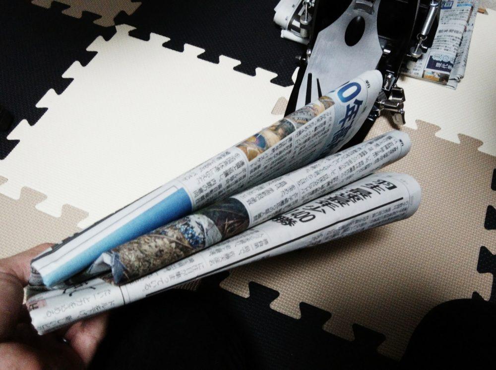 新聞紙を挟んでみる