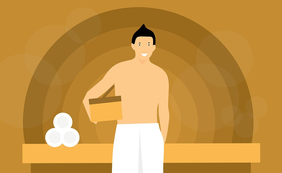 お風呂上りの男性