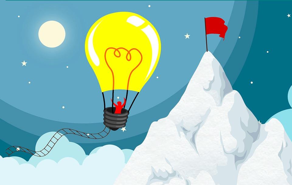 アイデアの気球で飛んでいる