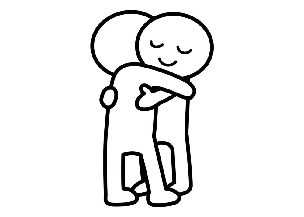 抱き合っている人達