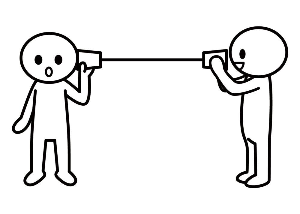 糸電話で内緒話をしている人