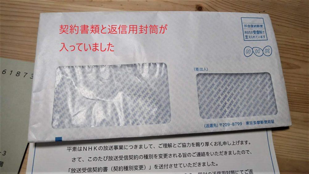 NHKから届いた封筒