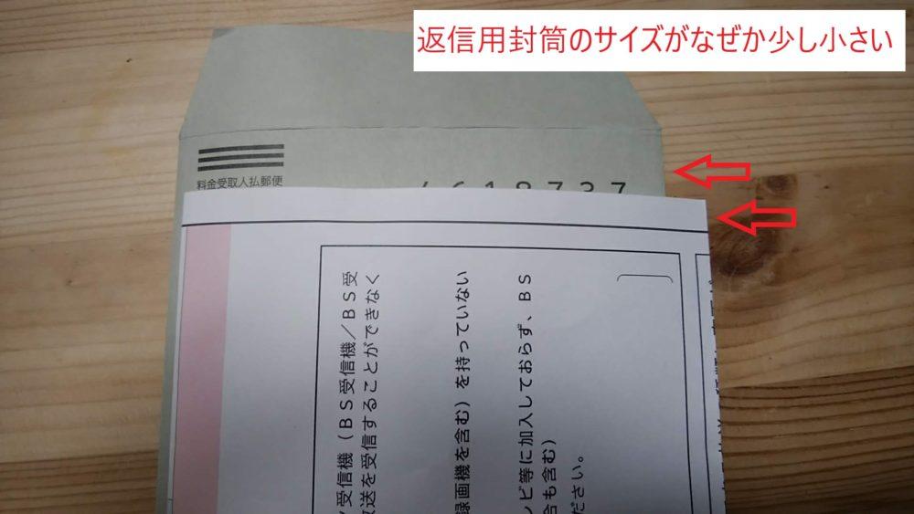 NHKの契約変更書類が返信用封筒に入り切らなかった状態